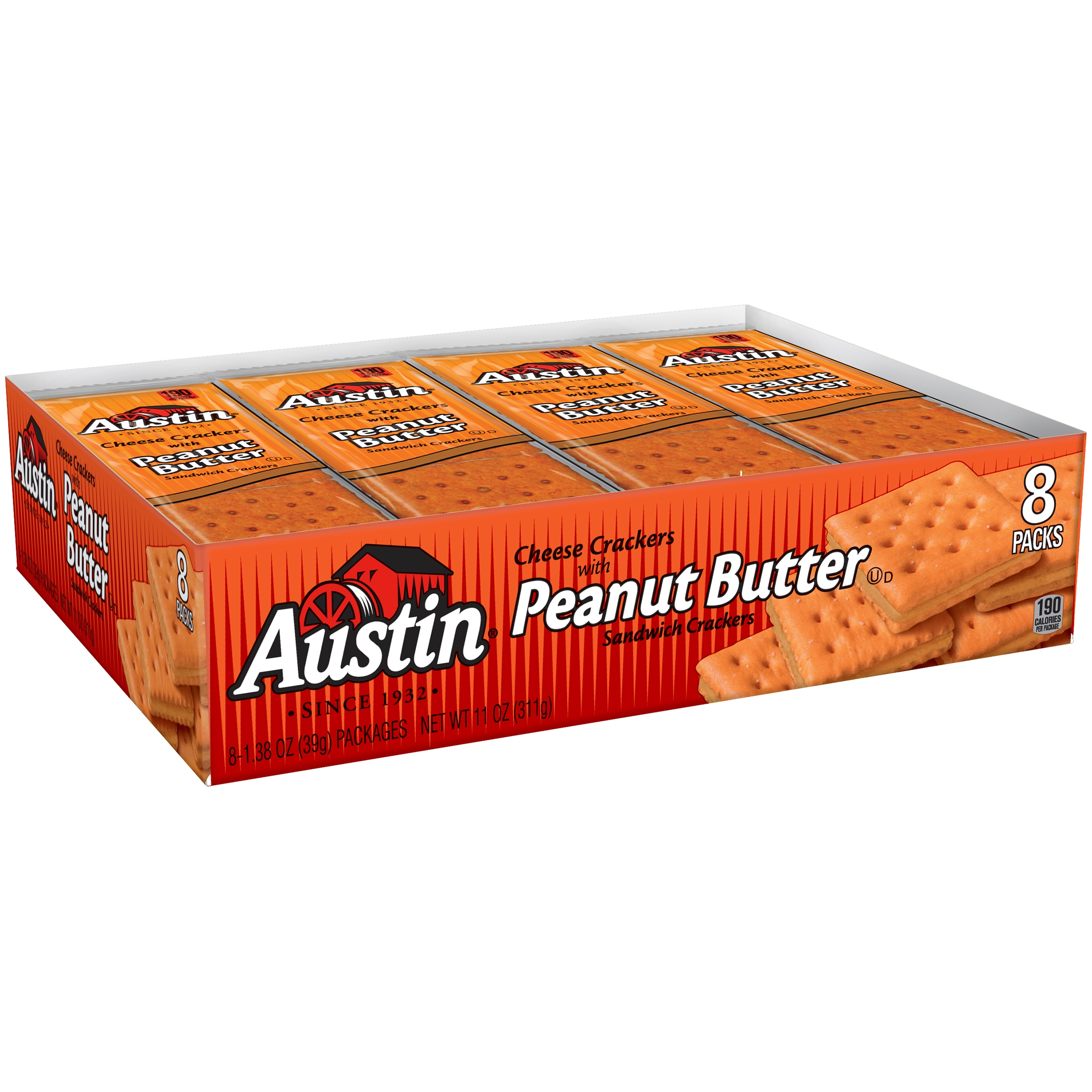 Austin Cheese Snack Crackers with Peanut Butter 8-1.38 oz. Packages