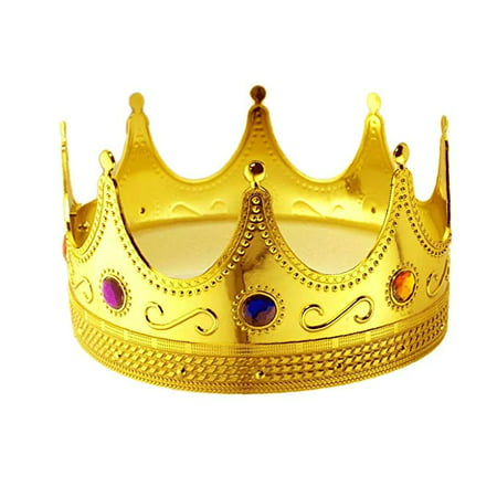 King Crown Halloween Costume (Tytroy Royal King Gold Jeweled Plastic Dress up Crown Costume)
