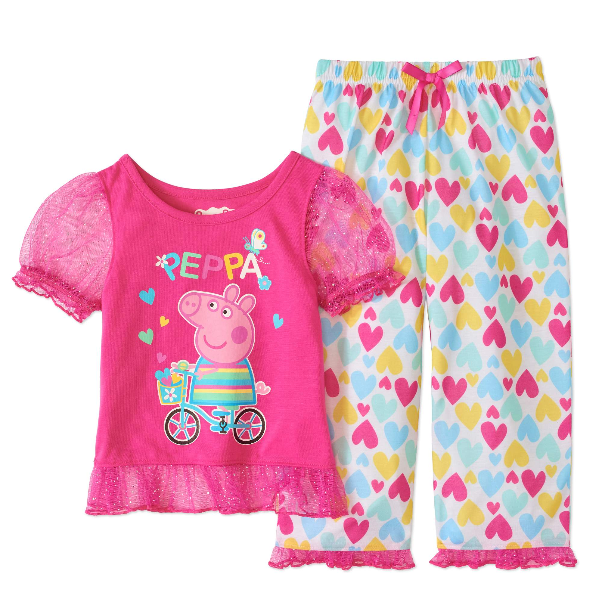Toddler Girl Short Sleeve Ruffle Trim Pajama Set