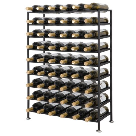 Zeny 54 Bottles Wine Rack Stand Black Metal Wine Rack 9 Tier Foldable Freestanding  Cellar Storage Organizer Display Stand