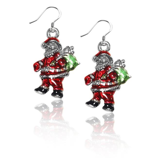 Whimsical Gifts 869S-ER Santa Claus Charm Earrings In Silver