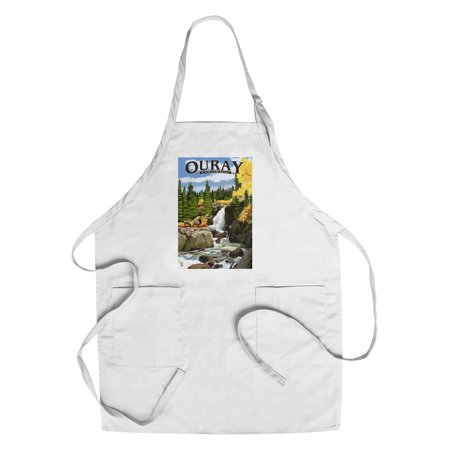 Ouray  Colorado   Waterfall   Lantern Press Artwork  Cotton Polyester Chefs Apron