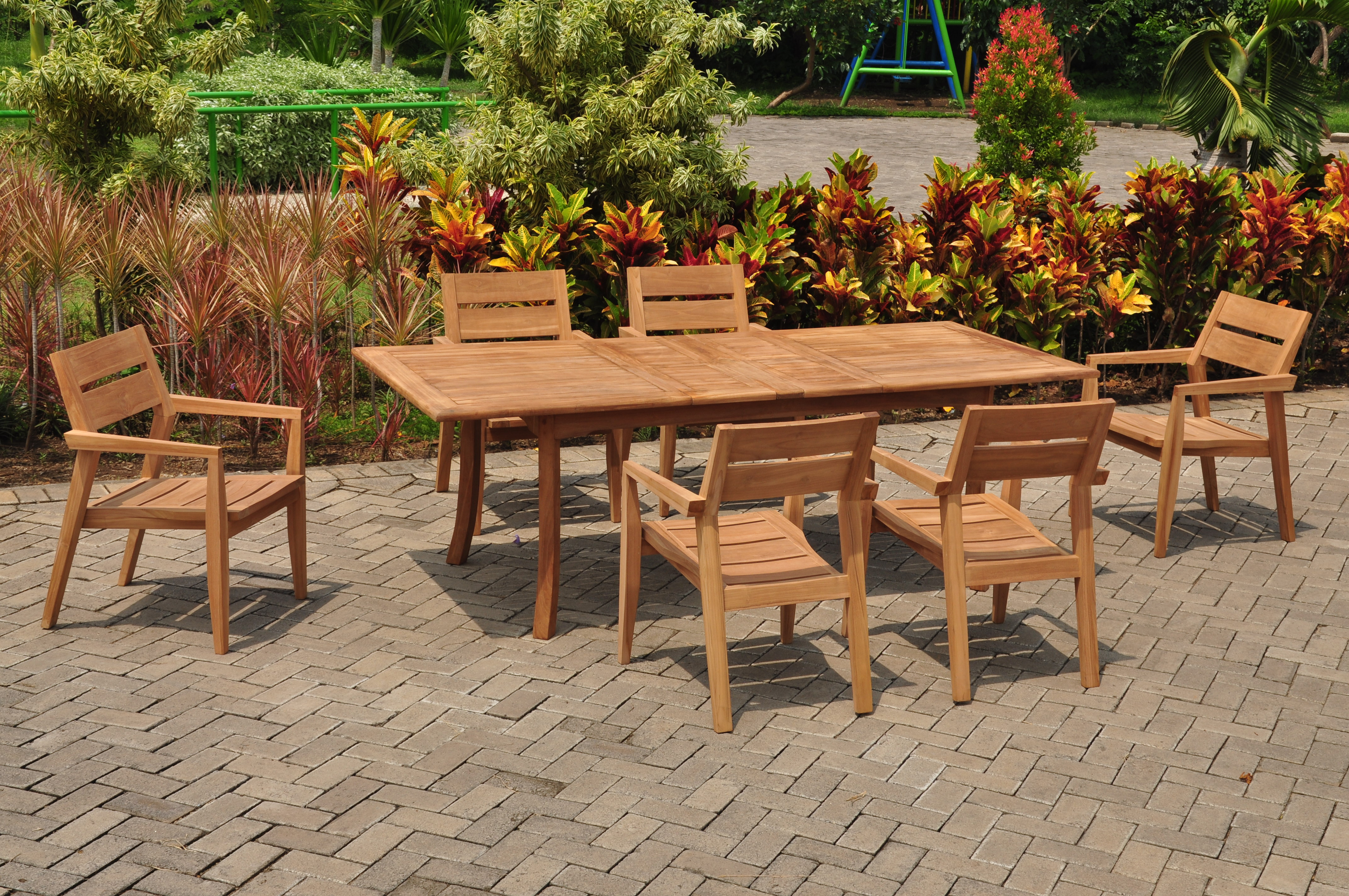 "7 PC A Grade Outdoor Patio Teak Dining Room Set 94"" Double Extension Rectangle Table & 6 Cellore Stacking... by"