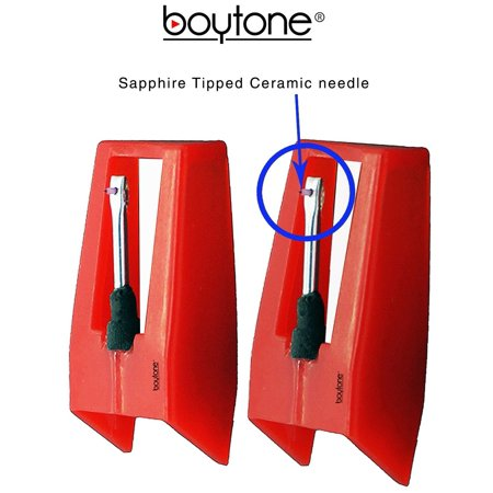 - Boytone Pack of 2, Sapphire Tipped Ceramic Replacement Needle for Turntables
