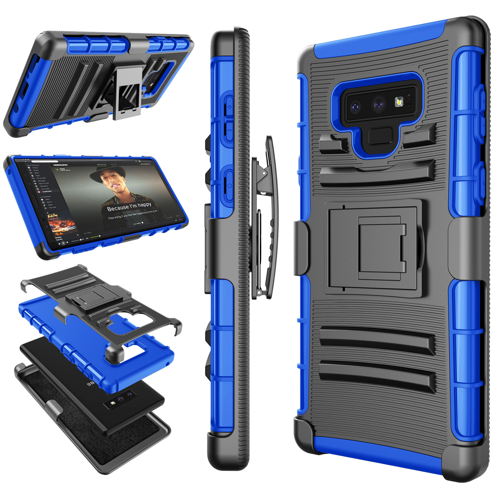 Galaxy Note 8 / Note 9 Case, Samsung Note 9 Holster Clip, Tekcoo Shock Absorbing Swivel Locking Belt [Relic Camo] Defender Heavy Full Body Kickstand Carrying Tank Armor Cases Cover