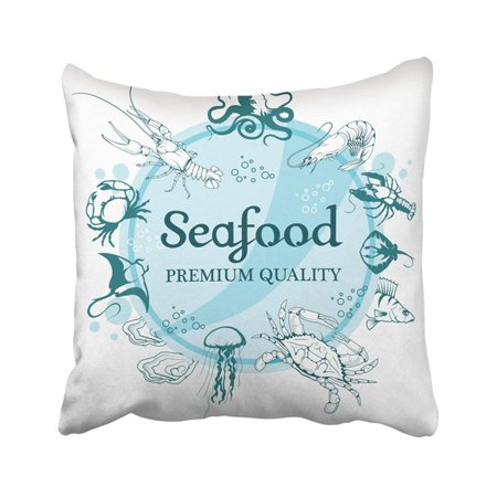 BPBOP Animal With Seafood White Company Design Ocean Delicacies Collection Cooking Crab Drawing Pillowcase Pillow Cover 20x20 inches
