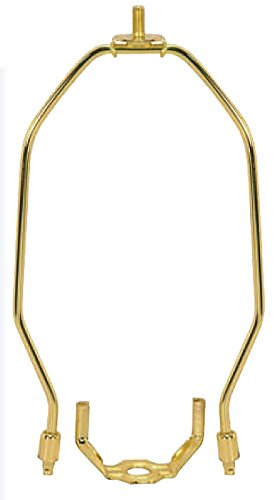 9 Inch Heavy Duty Harp Fitter For Lampshades Polished Brass by LampsUSA