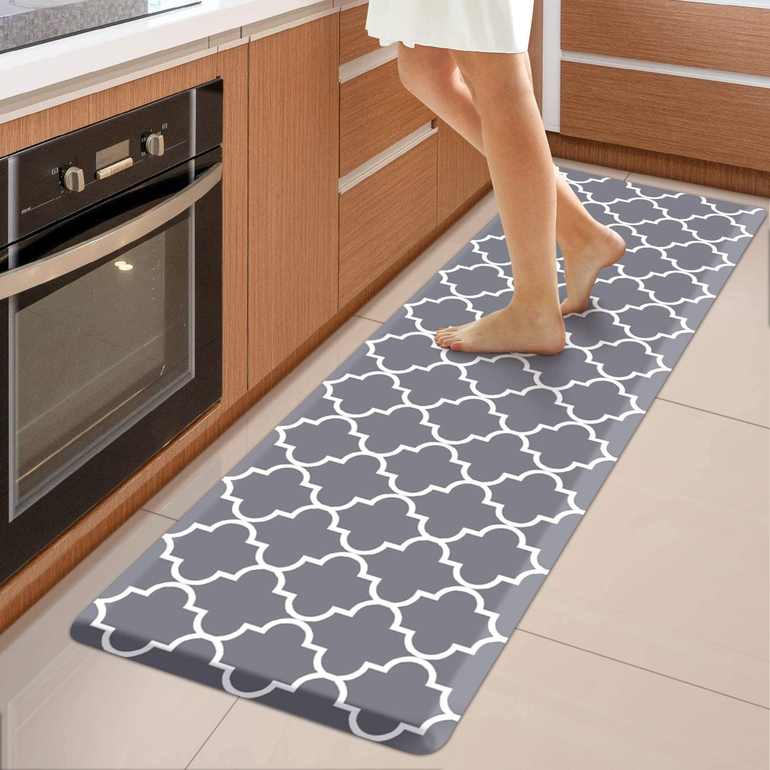 Wiselife Kitchen Mat Cushioned Anti Fatigue Kitchen Rug 17 3 X 60 Non Slip Waterproof Kitchen Mats And Rugs Heavy Duty Pvc Ergonomic Comfort Mat For Kitchen Floor Home Office Sink Laundry Grey Walmart Com