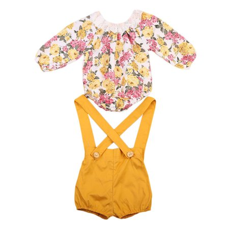 StylesILove Baby Girl Long Sleeve Princess Flower Romper with Suspenders Short Pants 2 pcs Outfit (90/12-18 Months) (Baby Girl Golf Outfit)