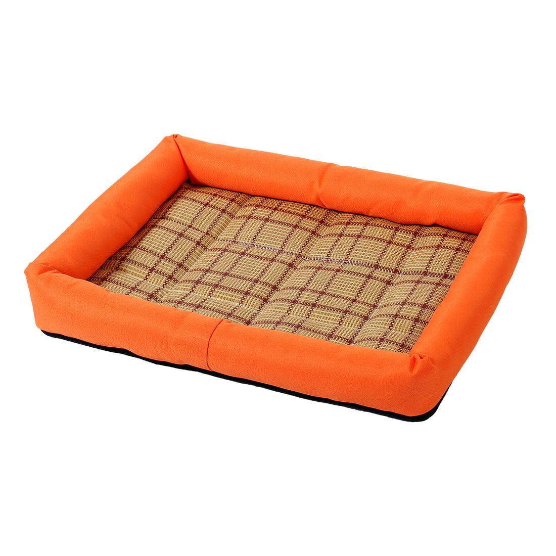 Unique Bargains Summer Cool Heat Resistant Bamboo Dog Cushion Pet Cat Sleeping Bed Mat M Orange