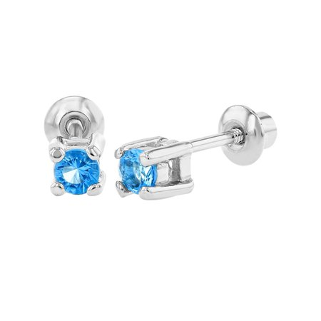 Rhodium Plated December Blue Crystal Kids Baby Girls Screw Back Earrings 3mm