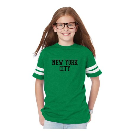 New York State Flag Youth Football Fine Jersey Tee