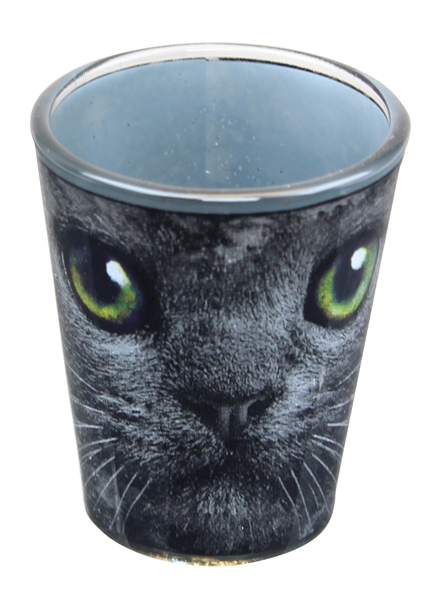 Black Cat With Green Eyes 2oz Shot Glass by Just Funky