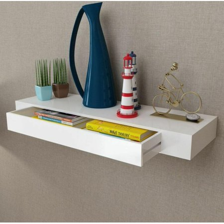 White Floating Wall Shelf Ymiko Display Storage With Drawer Home Decor