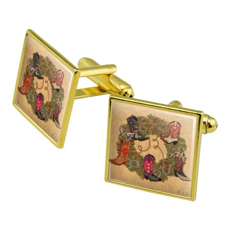 Christmas Holiday Boot Wreath Cowboy Horshoes Western Square Cufflink Set - Silver or Gold (Dallas Cowboy Wreath)