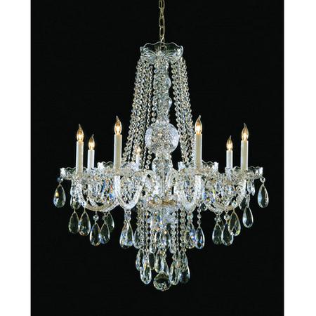 Chandeliers 8 Light With Polished Brass Clear Swarovski Strass Crystal 26 inch 480 Watts - World of Lighting (Eight Light Swarovski Strass Crystal)