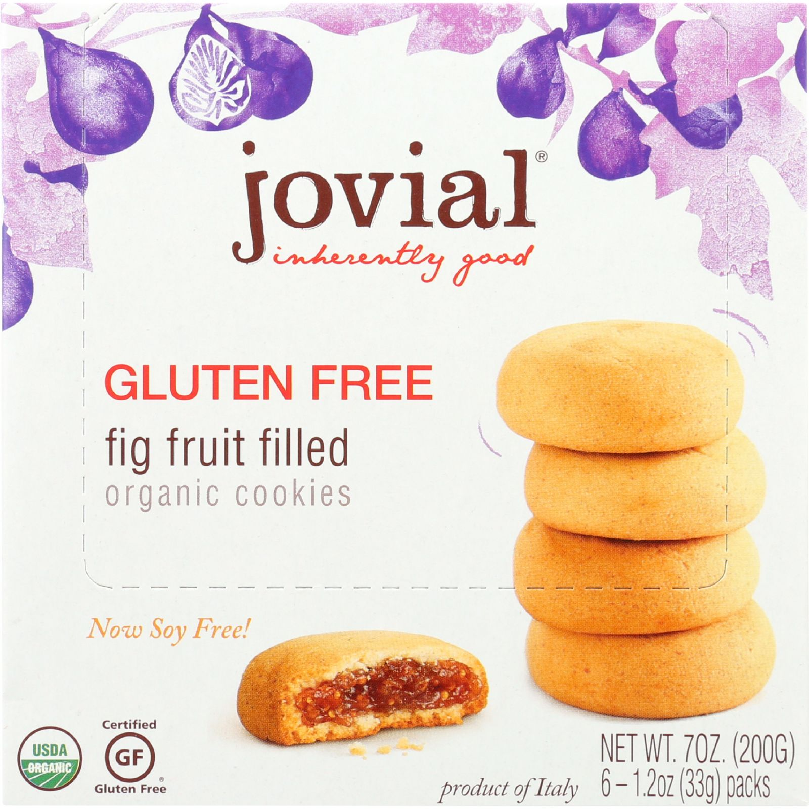 Jovial Cookie Organic Fig Fruit Filled Gluten Free 7 oz case of 10 by