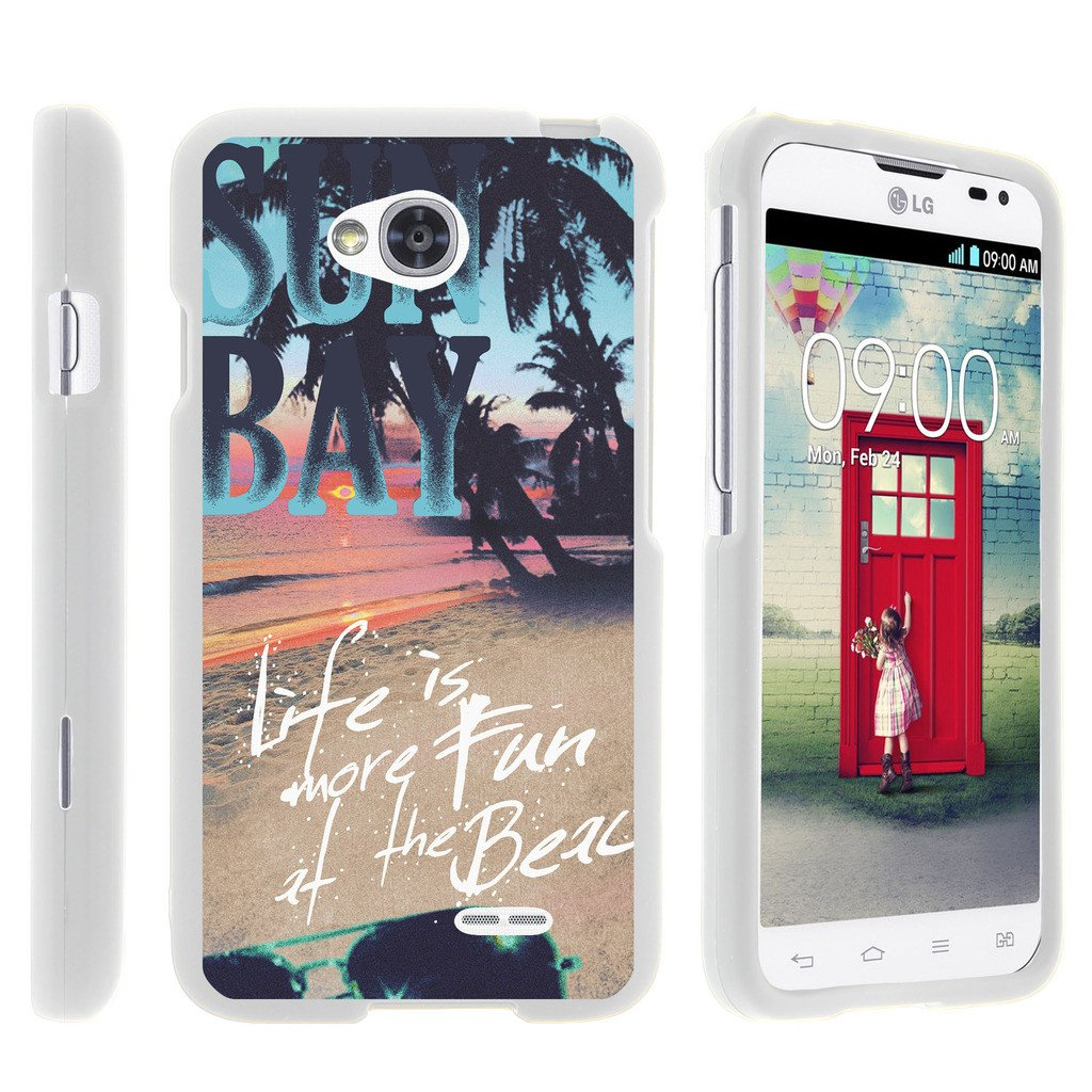 LG Optimus L70, Ultimate 2, Optimus Exceed, [SNAP SHELL][White] Hard White Plastic Case with Non Slip Matte Coating with Custom Designs - Life at the Beach