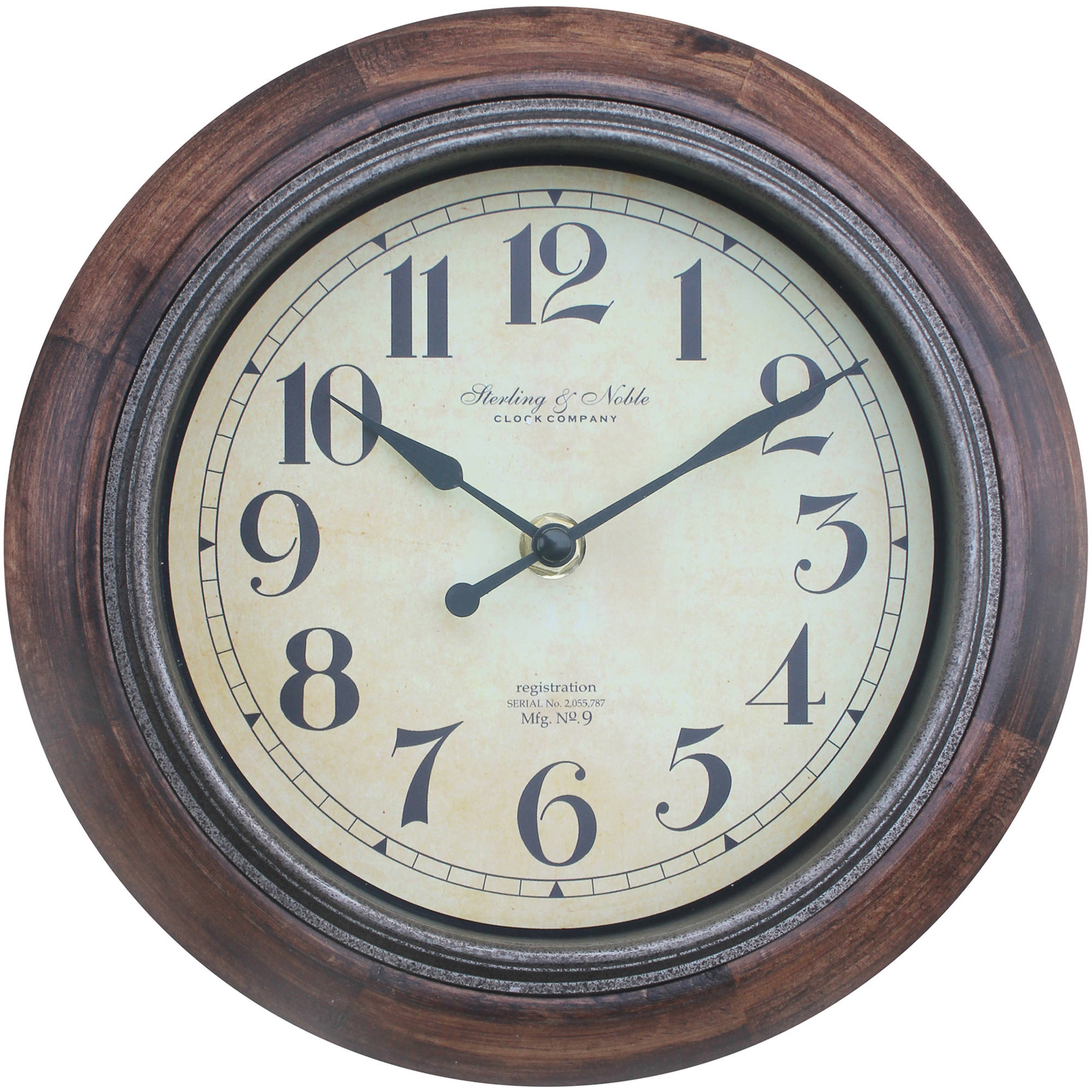 "Better Homes and Gardens 8.75"" Rustic Wood Clock"