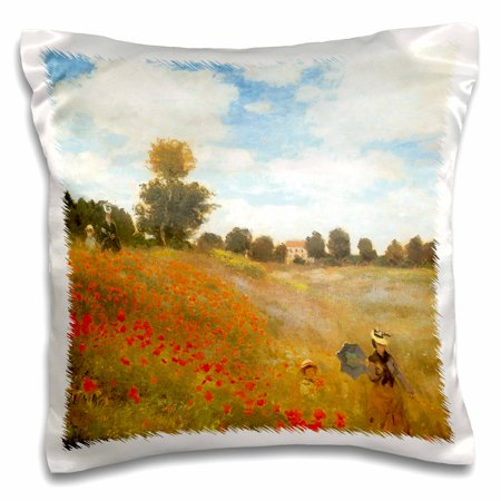 3dRose Poppy Field at Argenteuil by Claude Monet, 1873, Pillow Case, 16 by 16-inch Poppy Field Argenteuil