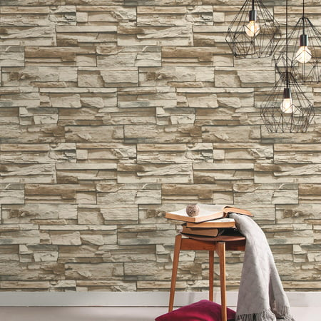 Roommates Brown Stacked Stone Peel And Stick Wallpaper