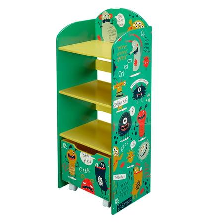senda monsters kids bookshelf 3 shelf with drawer green. Black Bedroom Furniture Sets. Home Design Ideas