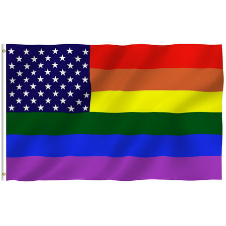ANLEY [Fly Breeze] 3x5 Foot Rainbow USA Flag - Vivid Color and UV Fade Resistant - Canvas Header and Double Stitched - Gay Pride LGBT Flags Polyester with Brass Grommets 3 X 5 Ft (Rainbow Flags)