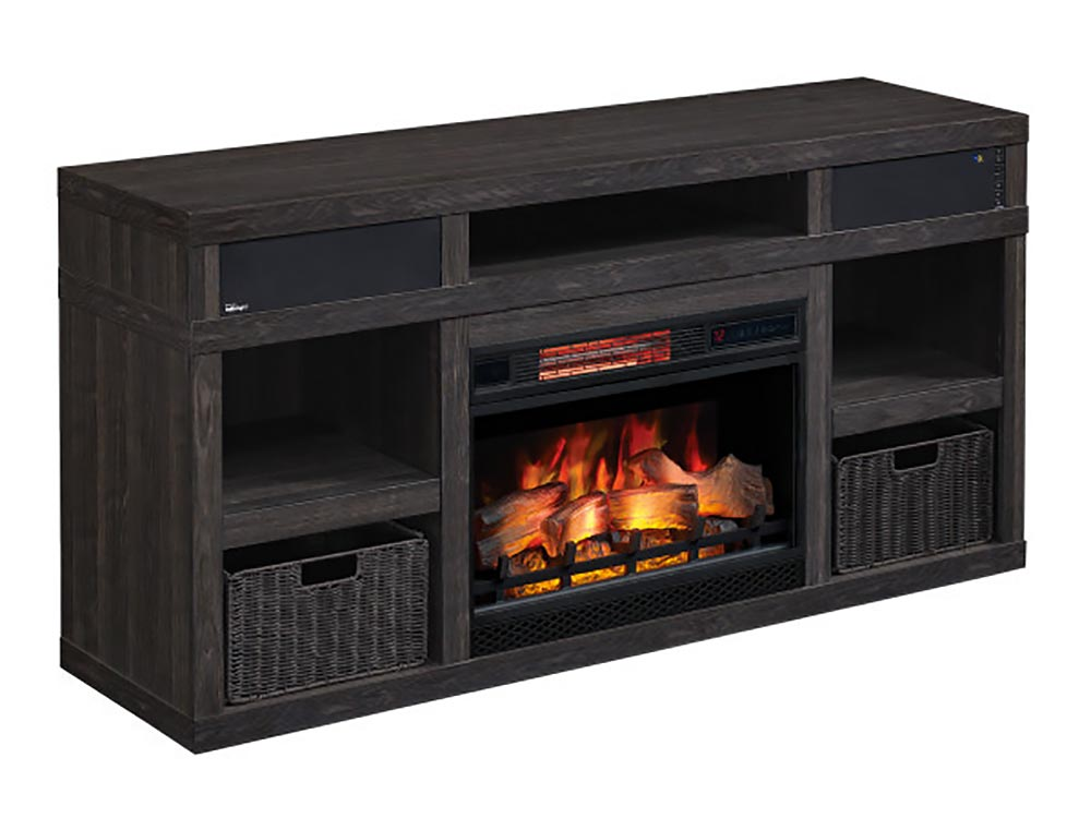 Greatlin Infrared Electric Fireplace Tv, Greatlin Infrared Electric Fireplace Tv Stand In Black Walnut 26mmas6064 Nw07