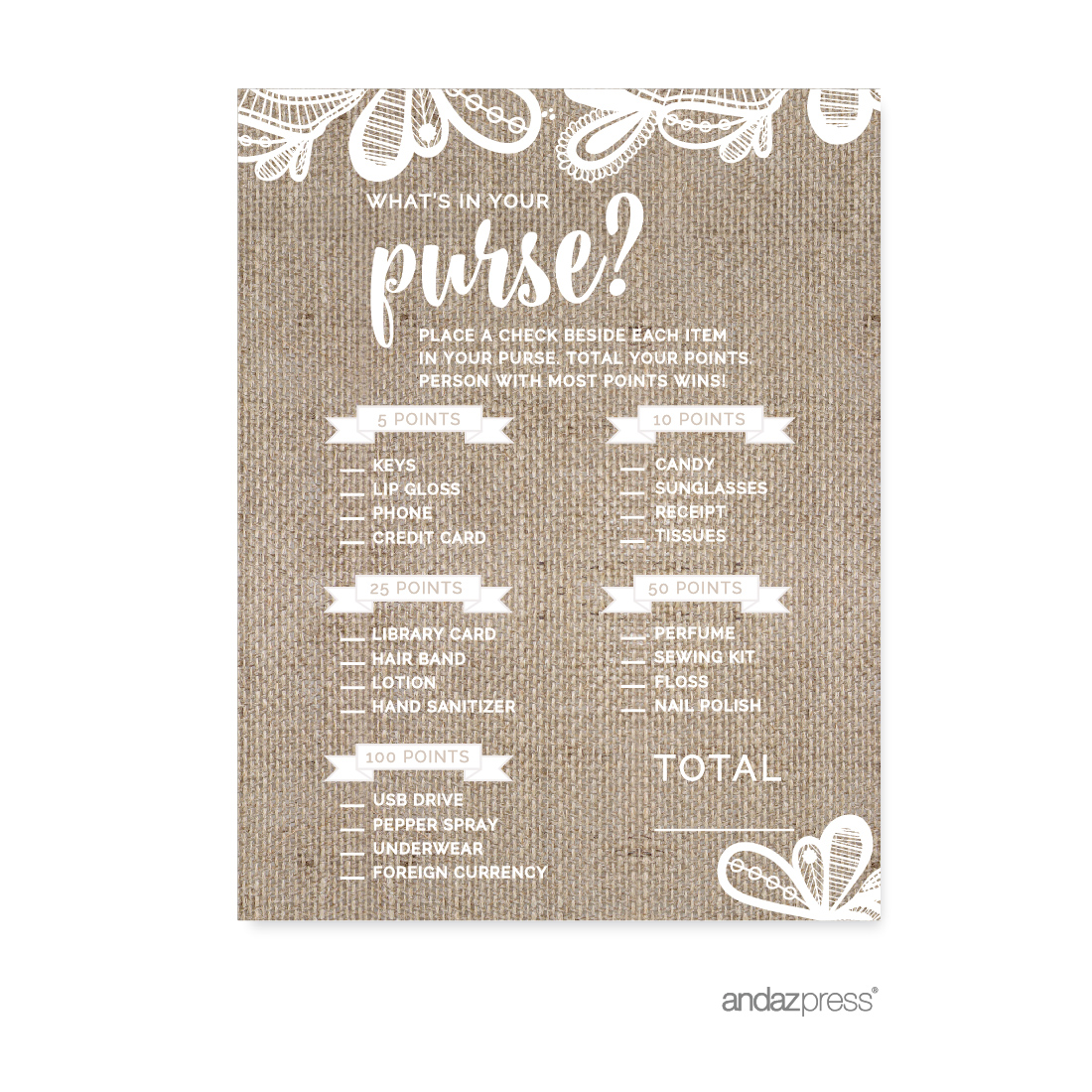 What's In Your Purse?  Burlap Lace Wedding Bridal Shower Game Cards, 20-Pack