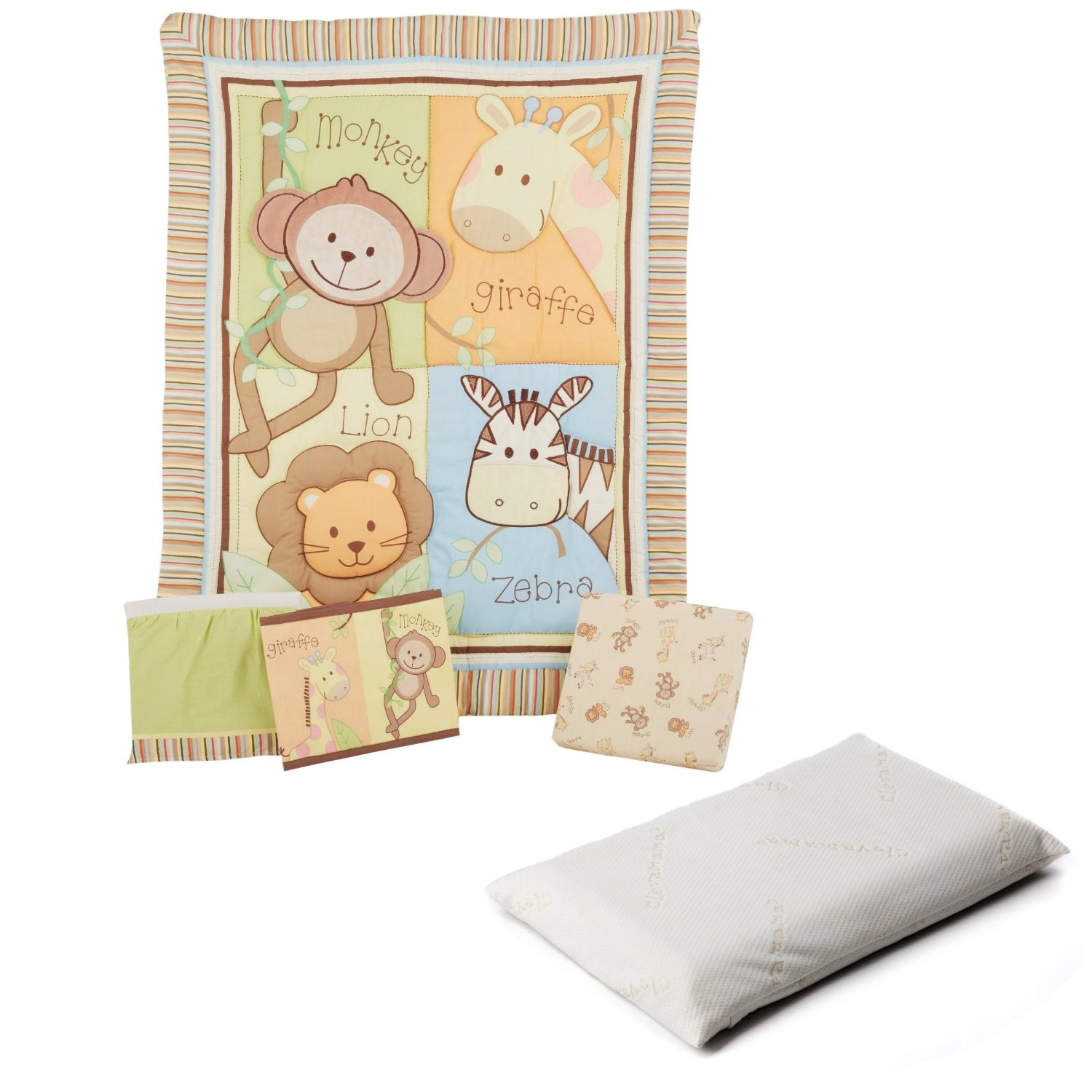 Summer Infant Monkey Jungle 4 Piece Crib Bedding Set with ClevaFoam Baby Pillow