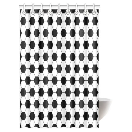 MYPOP Sports Decor Shower Curtain, Black and White Soccer Ball Pattern Athletic Sport Themed Geometric Modern Artistic Design Shower Curtain Set with Hooks, 48 X 72 Inches