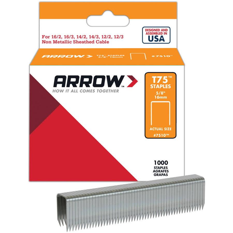 """Arrow Fastener 7510S 5/8"""" T75 Staples 1000 Per Pack"""