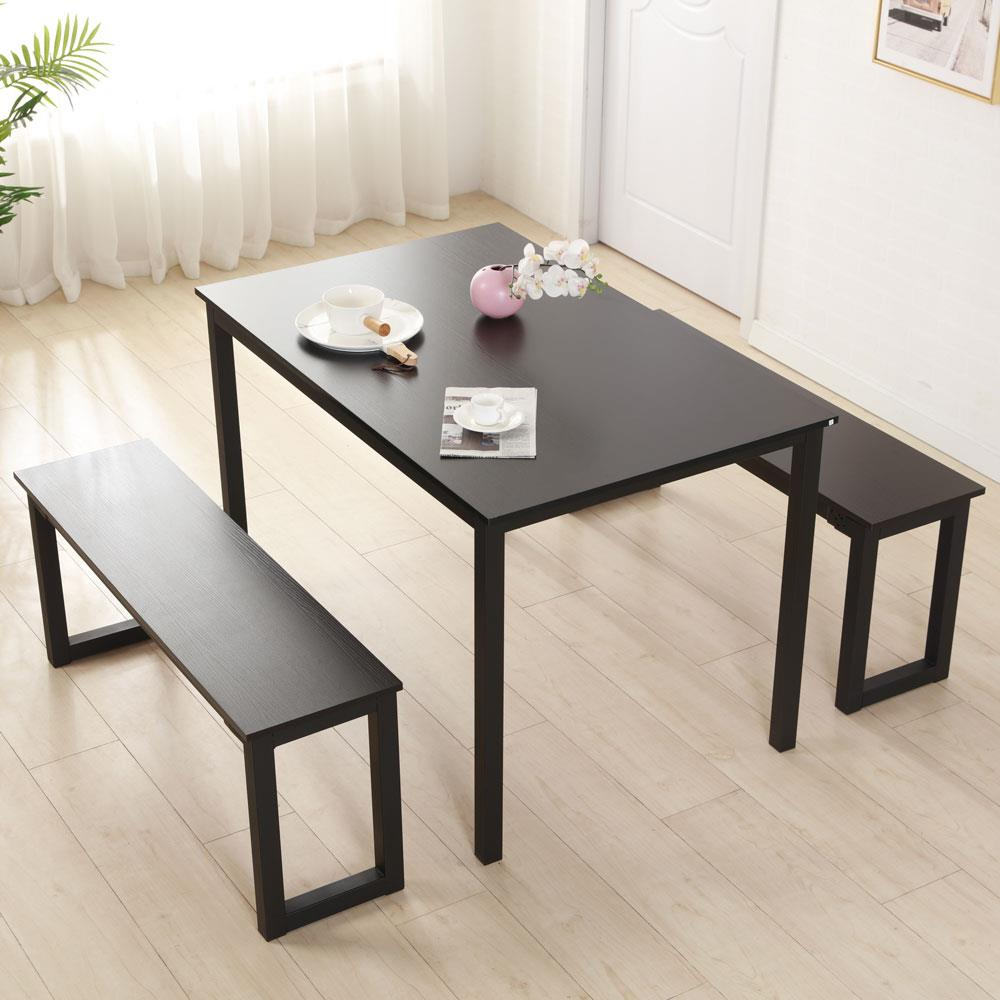Ktaxon Dining Table Set, 3 Piece Kittchen Table Set with 2 Bench,Dining Room Furniture with Steel Frame