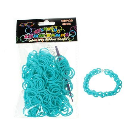 300 Pcs Rubber Bands DIY Loom Bracelet Making Kit with Hook Crochet and S Clips (Malachite Green) - Rubberband Bracelet