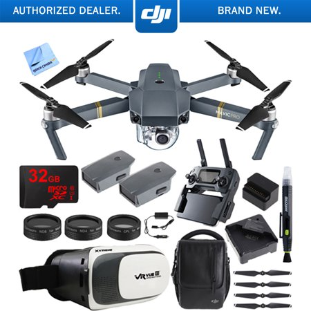 DJI Mavic Pro Quadcopter Drone Fly More Combo Pack with 4K Camera and Wi-Fi , 3 Batteries , DJI Custom Case , Charging Hub , Three Piece Multi Coated Filter Kit VR Goggles Virtual Reality