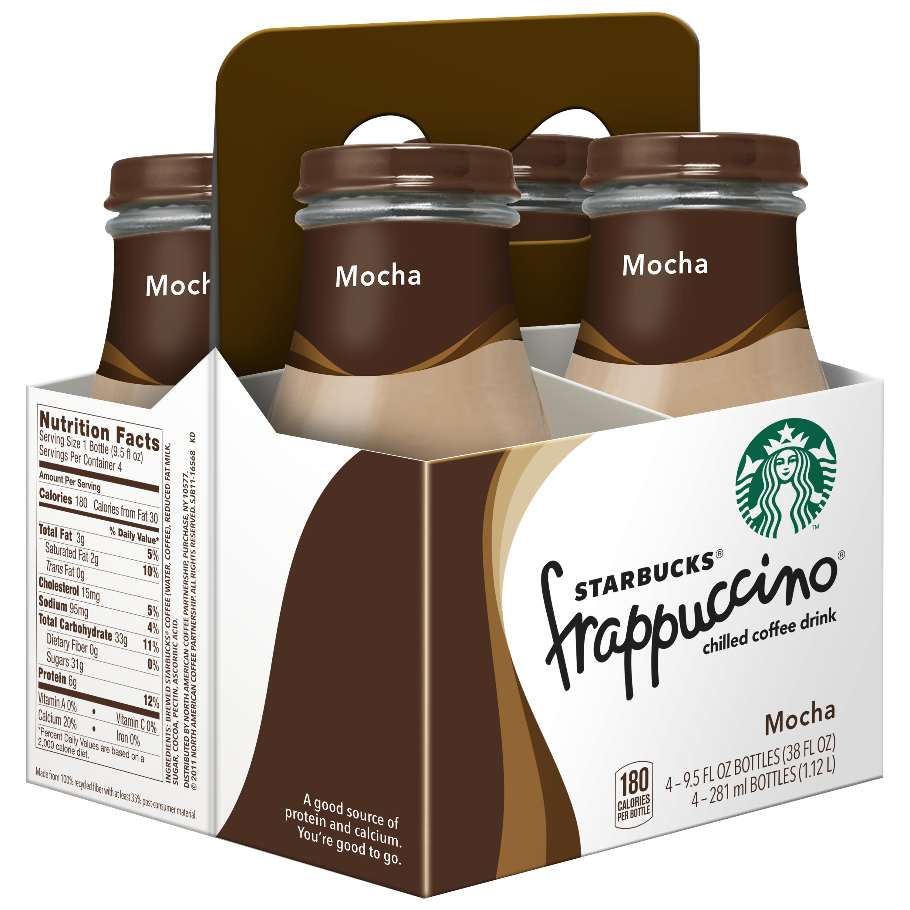 (4 Count) Starbucks Frappuccino Coffee Drink, Mocha, 9.5 oz Bottles