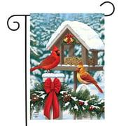 "Cardinals Christmas Feast Garden Flag Birdfeeder Snowy 12.5"" x 18"""