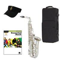 Essential Rock Silver Alto Saxophone Pack - Includes Alto Sax w/Case & Accessories, Essential Rock Play Along Book