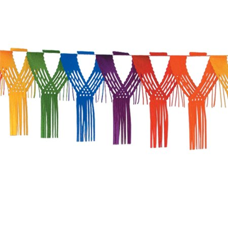 Club Pack of 12 Rainbow Colored Drop Fringe Tissue Streamer Garland Party Decorations 12' - Coloured Streamers