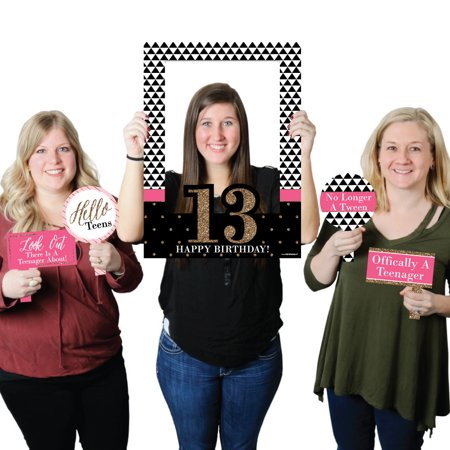 Chic 13th Birthday - Birthday Party Selfie Photo Booth Picture Frame & Props - Printed on Sturdy Material (13th Birthday Party)