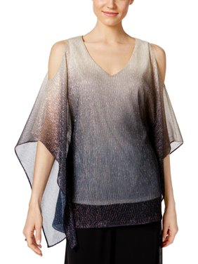 3259aa22d5064 Product Image MSK Womens Cold Shoulder Metallic Pullover Top