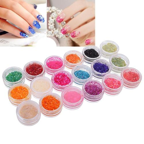 Zodaca 18 Color/Set Nail Art Shell Chips Colorful Tips Acrylic DIY Decor Decoration Beautify Glitter Bling
