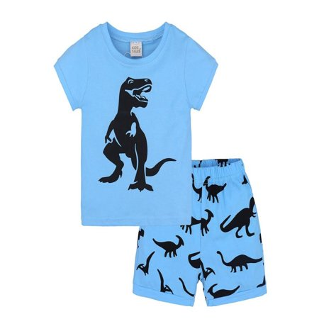Mosunx 2Pcs Toddler Kids Baby Boys Girls Pajamas Cartoon Print Tops Shorts Outfits Set