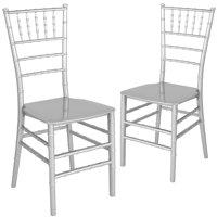 Flash Furniture 2 Pk. HERCULES Series White Resin Stacking Chiavari Chair