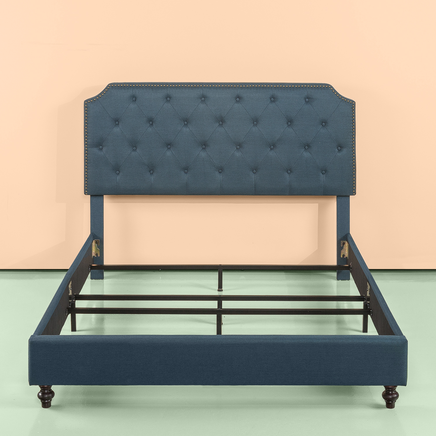 Zinus Andover Upholstered Tufted Bed Frame Nailhead Detail, Multiple Sizes