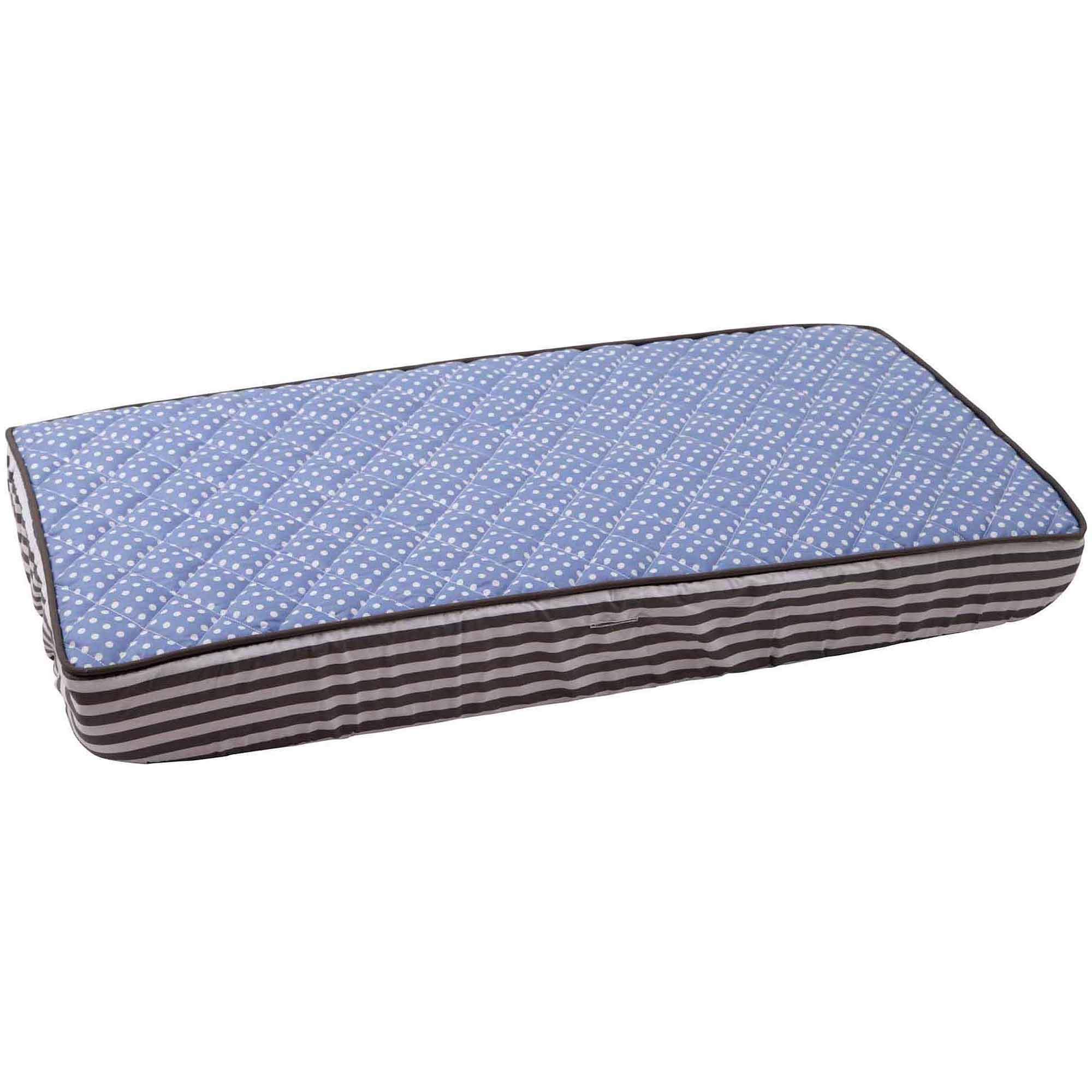 Bacati - Elephants Pin dots Quilted Top 100% Cotton Percale with Polyester Batting Diaper Changing Pad Cover, Blue/Gray