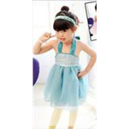 Little Girls' Flower Girl Dress Weddings Easter Special Occasions Toddler Birthday Party Holiday Junior Bridesmaid Silver Sequin Shimmering Pleated Mesh Halter Strap Dress, Blue (Birthday Wishes For A Special Little Girl)