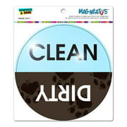 Dishwasher Clean Dirty Muddy Paw Prints - Circle MAG-NEATO'S(TM) Car/Refrigerator Magnet