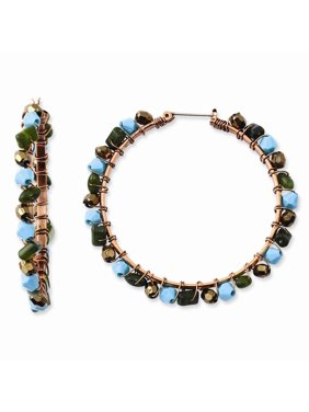 Copper tone Green Teal and Brown Acrylic Beads Hoop Earrings Jewelry Gifts for Women