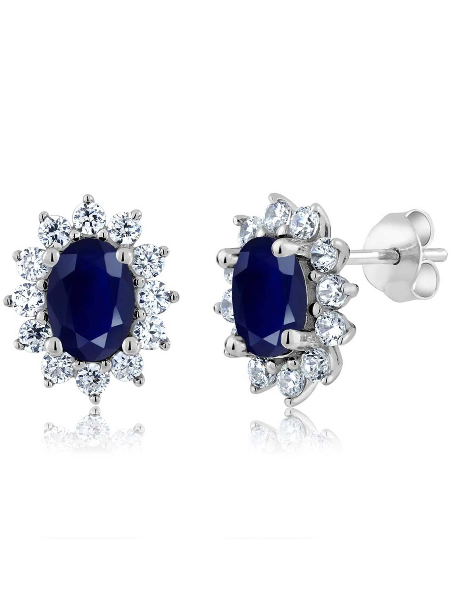 2.76 Ct Oval Blue Sapphire 925 Sterling Silver Earrings